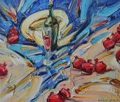 """Картина Ленура Велиляева """"Натюрморт с гранатами и дыней ( авторская копия)"""""""