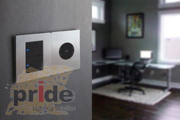 Pride А69 2KB двухклавишный проходной выключатель с LED индикатором
