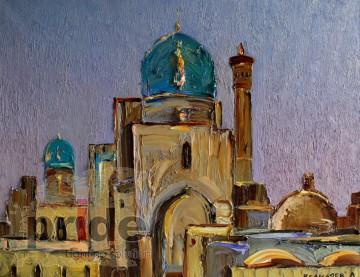 """Авторское Картина Ленура Велиляева """"Бухара. Минарет и мечеть Калян """""""
