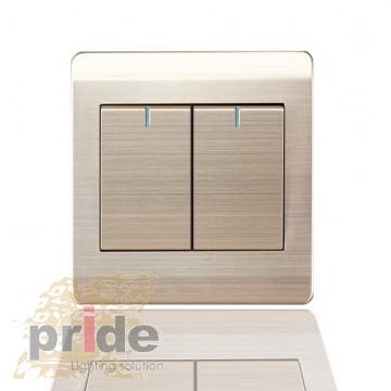 Pride А66 2K двухклавишный выключатель с LED индикатором